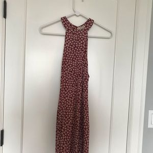 Maroon and white floral dress high neck halter